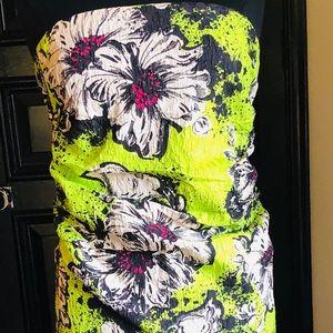 Miu Miu Strapless Floral Ruched Silk Dress SZ 44/8